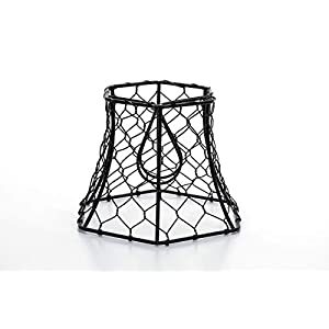 Cleveland Vintage Lighting 30398A Chicken Wire Clip-on Shade, Hexagonal, Black, 5.75 x 5 x 4 inches