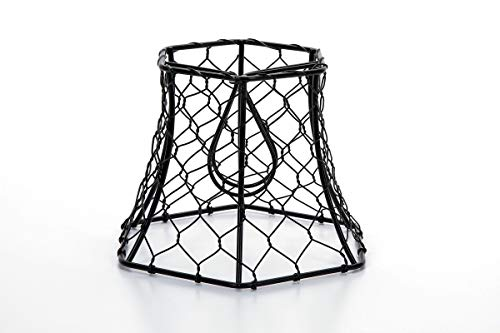 (Cleveland Vintage Lighting 30398A Chicken Wire Clip-on Shade, Hexagonal, Black, 5.75 x 5 x 4 inches )