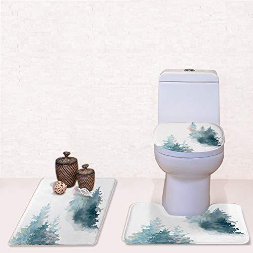 Door Mat Bathroom Rug Mats lid Toilet Bath Mat, Artwork Background Painted Watercolor Wild,3 Piece Set