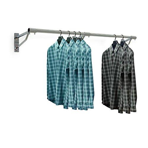 Kleiderstange zur Wandmontage, 1,83 m lang, verchromt, 32 mm Durchmesser