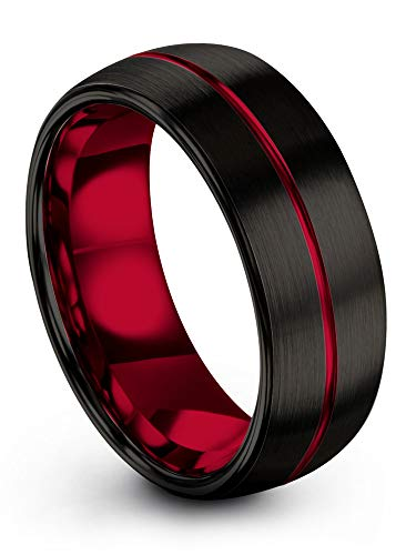 (Chroma Color Collection Tungsten Carbide Wedding Band Ring 8mm for Men Women Red Interior with Red Center Line Dome Black Grey Brushed Polished Comfort Fit Anniversary Size 8)