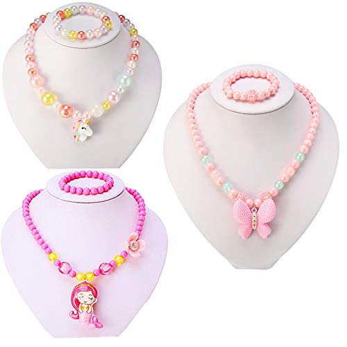 PinkSheep Kids Beaded Necklace and Bracelet 3 Sets, Butterfly Unicorn Necklace and Bracelet 3 Sets, Party Favors Bags for ()