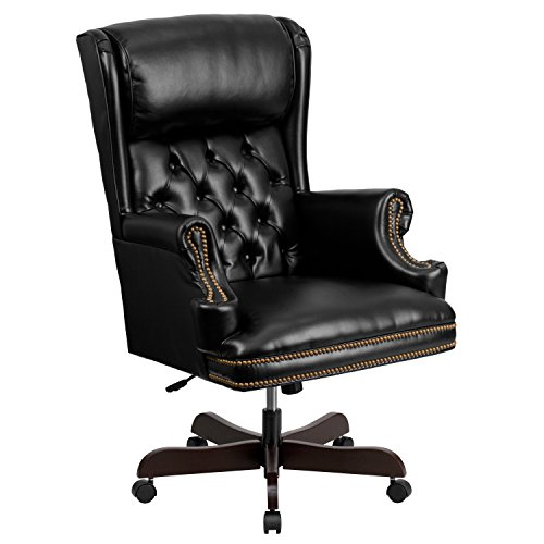 (Flash Furniture High Back Traditional Tufted Black Leather Executive Swivel Chair with Arms)
