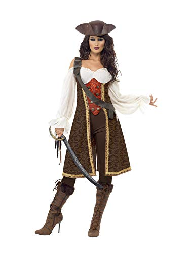 Smiffys High Seas Pirate Wench Costume, Brown/White/Red,