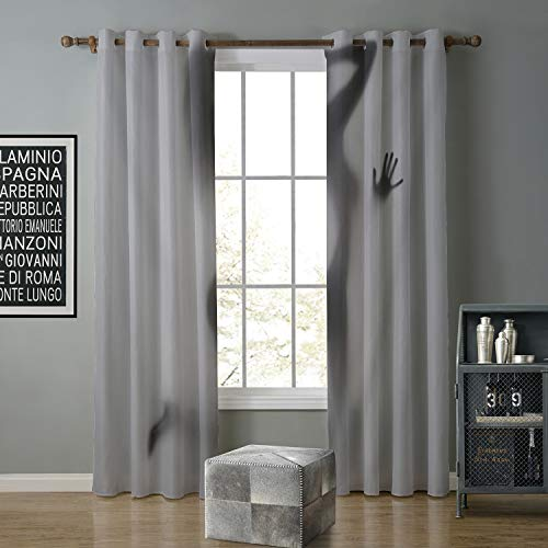 Jinguizi Blackout Curtain soundproof 84 by 84 Inch Horror Movie,Halloween Themed Nighttime View of a Grave,Earth Yellow Green Brown Pale Redwood Indigo]()