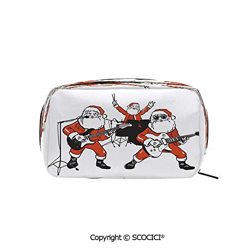 Travel Cosmetic Bag Portable Makeup Pouch Santa Claus Rock Band Playing Drums Guitar Father Christmas Show Print Decorative makeup clutch for Girls Ladies Women