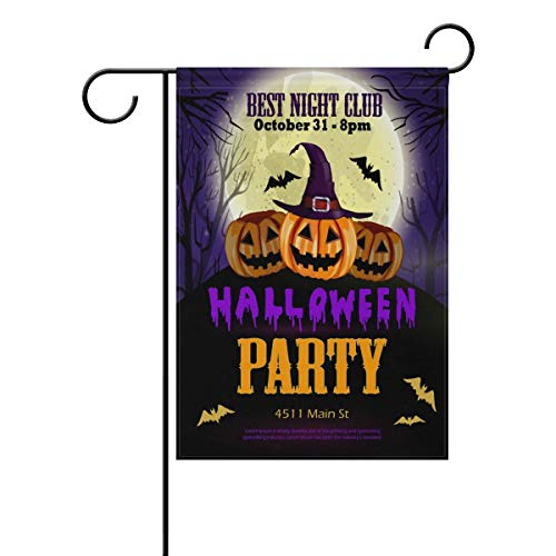 Andrea Back Halloween Party with Pumpkins Double Sided Polyester Garden Flag Banner Halloween Decorative Yard Flag for Party Home Outdoor Decor 12x18 inch