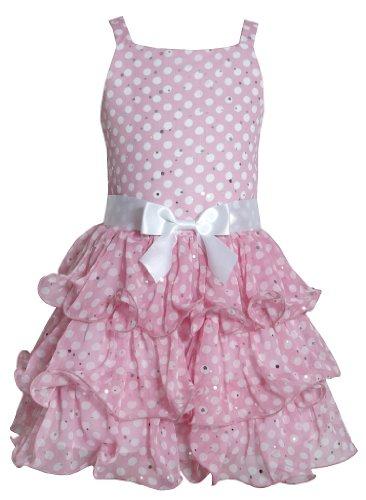 Bonnie Jean Girls Navy Dotted Chiffon Spring Dress , Pink , 12 (Dress Pink Dotted)