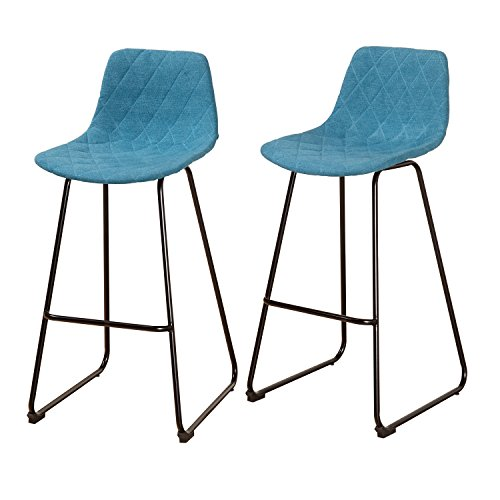 Contemporary Fabric Upholstered Diamond Pattern Set of 2 Low Back Counter Stool with Black Metal Frame - Includes Modhaus Living Pen - Regency Set Bar Stool