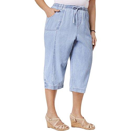 Karen Scott Womens Plus Chambray Crop Capri Pants Blue 2X