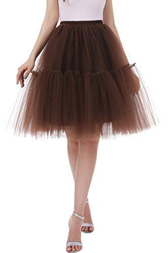Layered Ruffle Petticoat Slip (Tsygirls Women's 1950s Tutu Short Petticoat Skirt Knee Length Underskirt Slip Chocolate Size S-M)