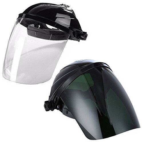 Grinding Shield - Ginode 2 Pack Anti-UV Welding Grinding Helmet Full Face Grinding Shield Plasma Cutting/Grinding Polycarbonate Face shield Black Crown and Clear Anti-Fog Window with Ratchet Headgear