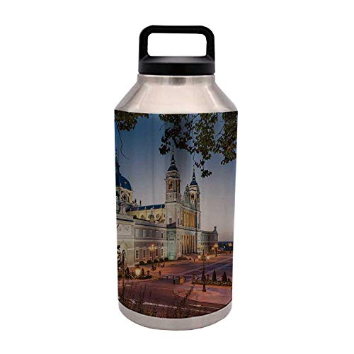 TecBillion Cityscape Durable 64OZ Stainless Steel Bottle,Old Cathedral and Royal Palace in Madrid Mediterrenean Mod City Europe Urban Print for Home Travel Office,4