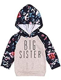 ad74d79081dc Baby Girl Sister Matching Clothes Long Sleeve Floral Bodysuit Hooded  Sweatshirt Top Kids Jumpsuit Romper Outfit