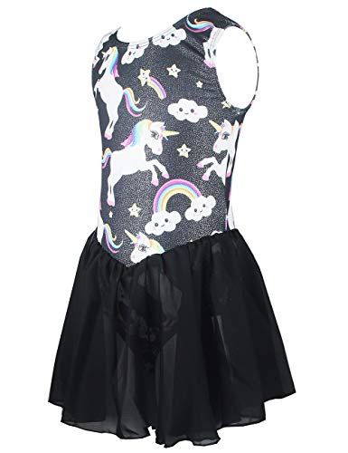 Toddler Kids Grils Tank Skirted Leotards One-Piece Cute Unicorn Sparkle Dance Ballet Tutu Dress Black (Tag 100) - Age 2t 3t - Tank Sparkle Leotard