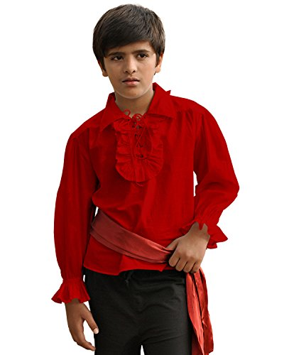 ThePirateDressing Kids Pirate Medieval Renaissance Medieval Cosplay Costume 100% Cotton Captain Kennit Shirt C1255 (Red) (Large) -