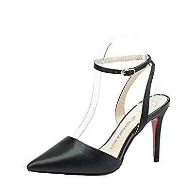 Ryse Women's Classic Word Buckle Delicate Temperament High Heels Pointy Shoes