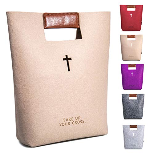 AGAPASS Christian Bible Tote Bag for Men Women Church Bag with Leather Handles Cute Bible Carrying Case Carved Cross Holy Bible Bag, Christian Gifts for Week Deals, Beige