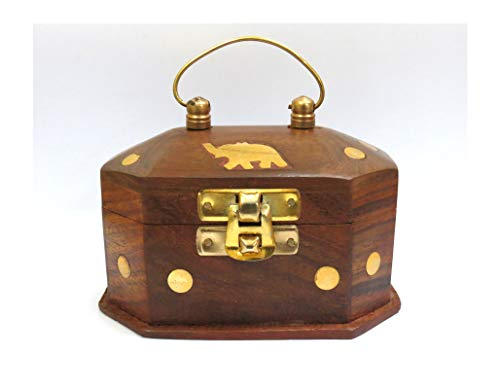 Affaires Wooden Mini Jewelry Storage Box with Embossed Elephant with Golden Touch W-40026