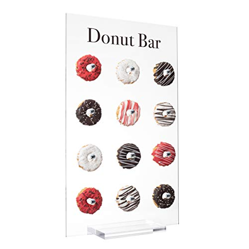 EstherO Acrylic Donut Wall Display Small Tabletop Display Holds 12 Doughnuts, Clear, Floating Display For Doughnuts, Bagels, Party Favors, Wedding, Birthday, Baby Shower, Office Parties, Hotels