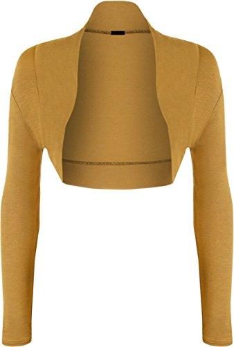 42 Manches Cardigan Moutarde Bolero Longues Jersey Taille EUR 36 Femmes Shrug Top pour HrRPqH