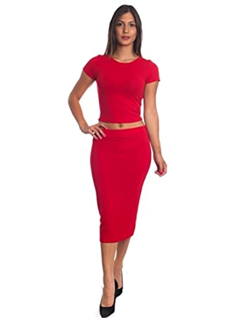 75a886ccf5 Women's Sexy 2PCS Bodycon Crop TOP & Mini Skirt Set Outfit - Red ...