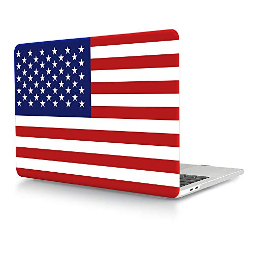 """HRH American USA Flag Design Laptop Body Shell Protective Hard Case for MacBook Newest Air 13"""" Inch with Retina Display fit Fingerprint Touch ID (Model A1932,2018 Release)"""
