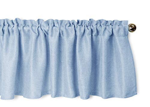 Aiking Home Pure 100% Faux Linen Window Valance - Size 56 inch x 16 inch, Slate Blue (Blue Bedroom Country)