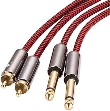 JMWJD 2 * 1月4日にコンソールアンプ2 * RCAを混合するためのデュアルRCAオーディオケーブルデュアル6.35ミリメートル (Size : 8meter)