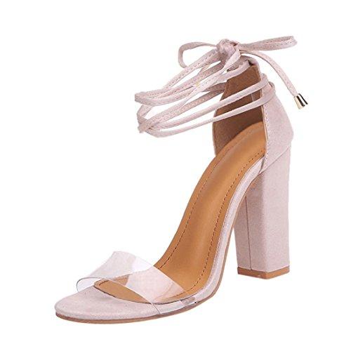 Sandales hauts Sandales 41 Block à Fashion Talons EU Culater® Femmes Open Beige Chaussures hauts Talons Toe Cheville Bv1xqIww5