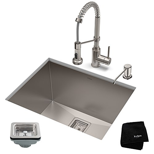KRAUS KHU24L-1610-53SS Set with Pax Laundry Utility Sink and Bolden Commercial Pull Faucet in Stainless Steel Kitchen Sink & Faucet -