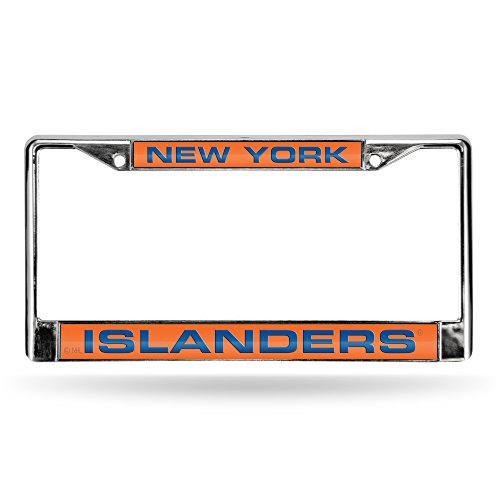 (NHL New York Islanders Laser Cut Inlaid Standard Chrome License Plate Frame,)