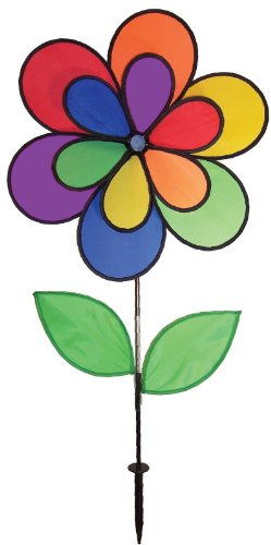 In the Breeze Double Wheel Rainbow Flower with Leaves - Ground Stake Included - Colorful Wind Spinner for your Yard and Garden