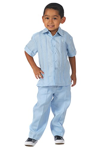 Boys Linen Guayabera Shirt (Linen Shirt Set (10, Light Blue))