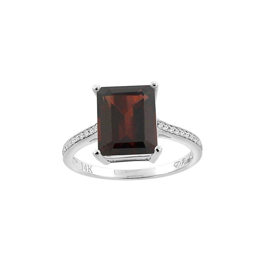 14K Gold Natural Garnet Ring Octagon 10x8 mm Diamond Accents, sizes 5 10