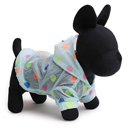 Tromy Polka Dots Pet Clothes Dog Raincoat Sunproof Hoodie Blue,S by Tromy