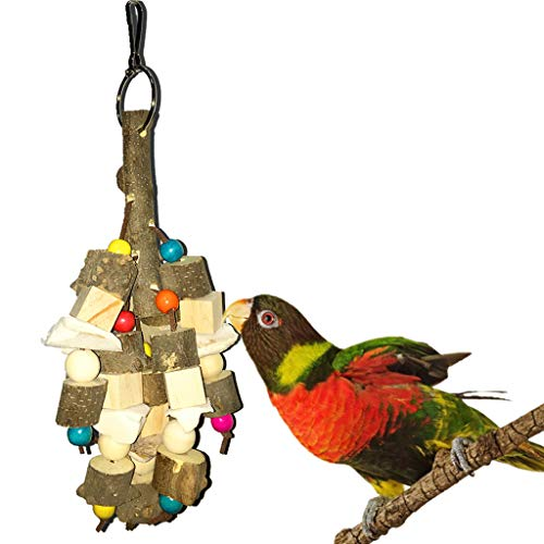 Naiflowers Pet Bird Chew Bite-Resistant Wooden Hanging Ornament Toy-Colorful Square Wooden Building Blocks and Beads String (Brown)