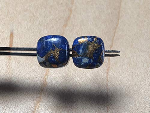 (10mm Cushion Mohave Lapis and Sterling Silver Post Earrings)