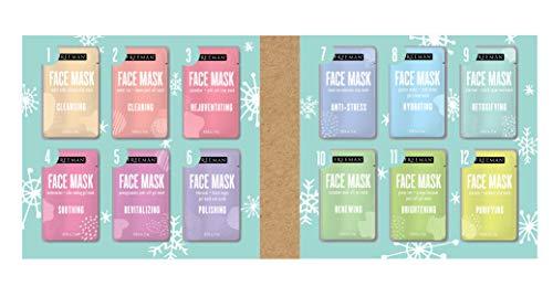 Freeman 12 Days of Masking Palette (12 Masks Variety Pack - Clay Mask, Peel-Off Mask, Gel Mask, Scrub)