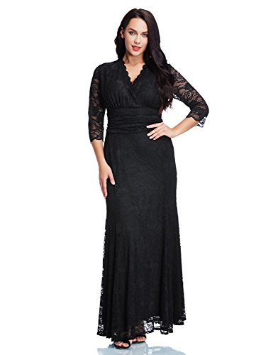 Blossil-Womens-Plus-Size-Floral-Lace-V-Neckline-34-Sleeves-Maxi-Evening-Dress