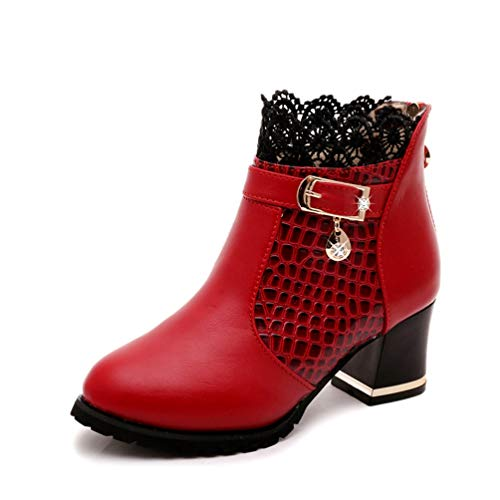 Women Block Mid Heel Ankle Boot Waterproof Lace Buckle Zipper Slip On Fashion PU Leather Riding Boots
