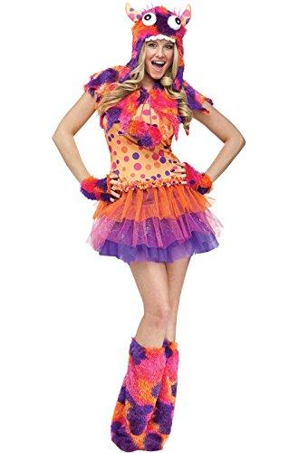 FunWorld Fuzzy Fifi Monster, Orange, 10-14 Medium/Large (Polka Dot Monster Costumes)