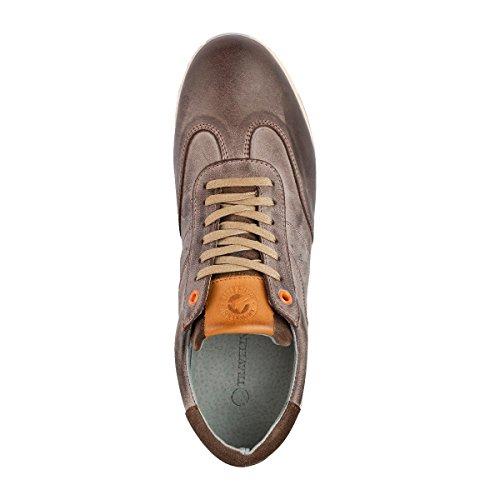 Travelin Harwich Leather Sneaker Men | Schnürhalbschuhe Herren | Halbschuhe Sneakers | Freizeitschuhe Sportschuhe | Leder Braun 41 EU