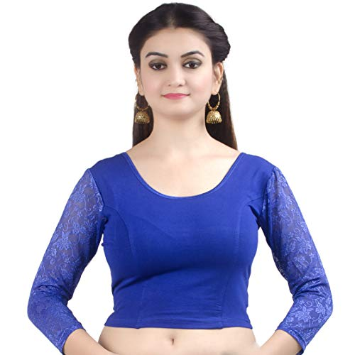 Chandrakala Women's Stretchable Readymade Lycra Blue Indian Ethnic Saree Blouse Crop Top Choli-X-Small (B101BLU1)