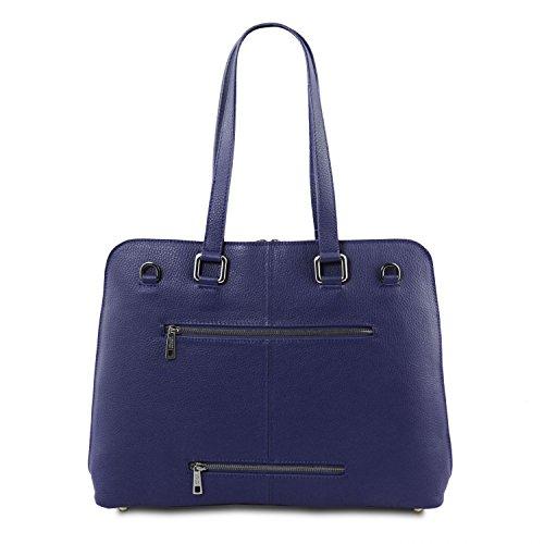 Tl Borsa Morbida Smart Per In Scuro Leather Pelle Tl141630 rosso Donna Lucca Business Tuscany Blu qHIBU