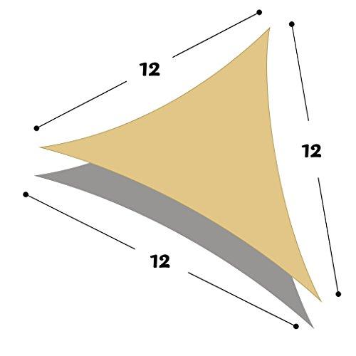 DIR Triangle 12 x 12 x 12 Sun Shade Sail Uv Top Outdoor Canopy Patio Lawn Shade Sail in Color Sand