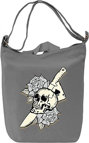 Knife skull Borsa Giornaliera Canvas Canvas Day Bag| 100% Premium Cotton Canvas| DTG Printing|