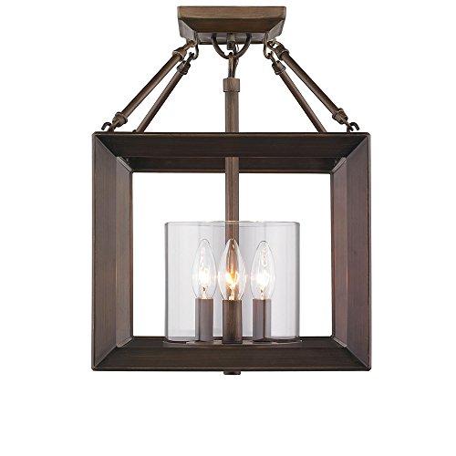Golden Lighting 2073-SF GMT-OP Three Light (Convertible) Semi-Flush Mount, Bronze