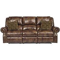 Ashley Furniture Signature Design - Walworth Recliner Sofa with 2 Pillows - 3 Seats - Pull Tab Manual Reclining - Auburn