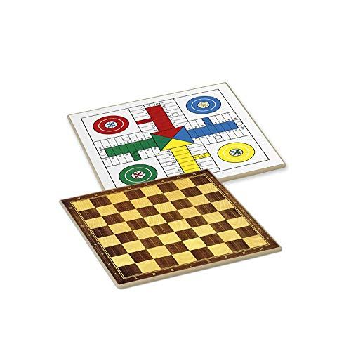 Tiendas LGP Cayro -Tablero Parchís/Ajedrez, Damas 4 Jugadores 33×33 cm.+ Cubiletes, Dados y fichas de Parchís